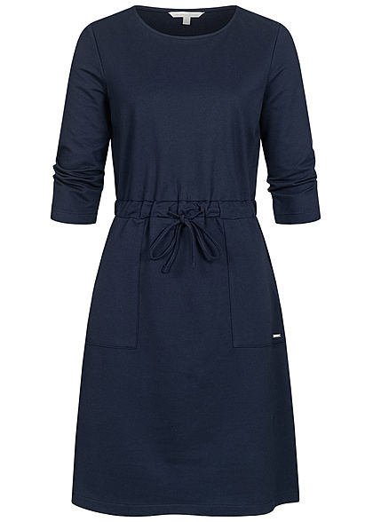 TOM TAILOR Damen 3/4 Arm Sweat Kleid 2-Pockets Taillenzug real navy blau