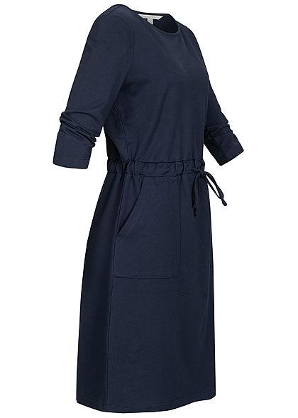 TOM TAILOR Damen 3/4 Arm Sweat Kleid 2-Pockets Taillenzug real navy blau