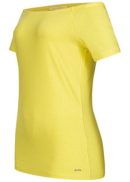TOM TAILOR Damen Ribbed Off-Shoulder T-Shirt daffodil gelb