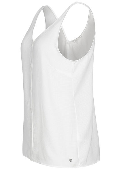 TOM TAILOR Damen V-Neck Blusen Top Deko Knopfleiste off weiss