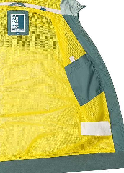 Jack and Jones Junior leichte Zip Jacke 2-Pockets Kapuze north atlantic grün weiss