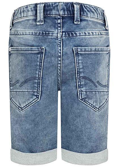 Jack and Jones Junior Bermuda Jeans Shorts 5-Pockets Gummibund blau denim