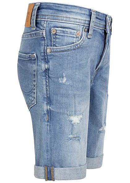 Jack and Jones Junior Bermuda Jeans Shorts 5-Pockets Destroy Look blau denim
