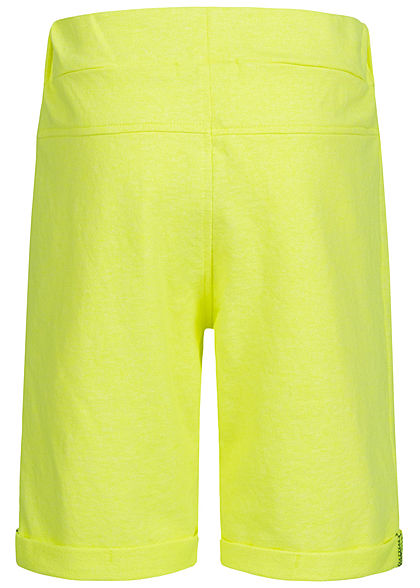 Name It Kids Jungen Melange Sweat Shorts 2-Zip-Pockets Tunnelzug safety neon gelb