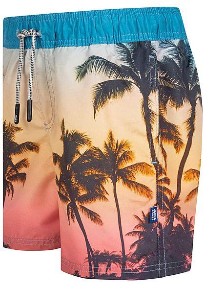 Jack and Jones Junior Bade Shorts 2-Pockets Tropical Print Tunnelzug alaskan blau