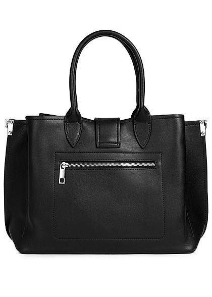 Styleboom Fashion Damen Kunstleder Handtasche 40x26cm leicht gerafft schwarz