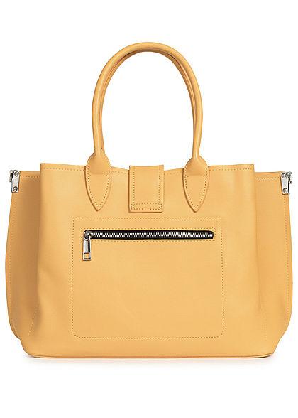 Styleboom Fashion Damen Kunstleder Handtasche 40x26cm leicht gerafft mango gelb