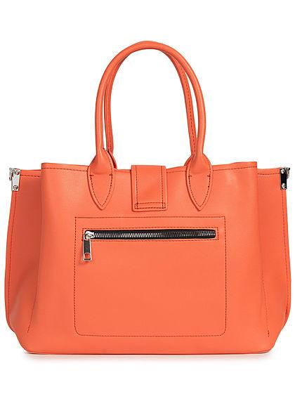 Styleboom Fashion Damen Kunstleder Handtasche 40x26cm leicht gerafft orange
