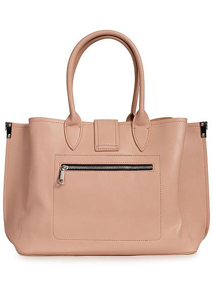 Styleboom Fashion Damen Kunstleder Handtasche 40x26cm leicht gerafft apricot beige