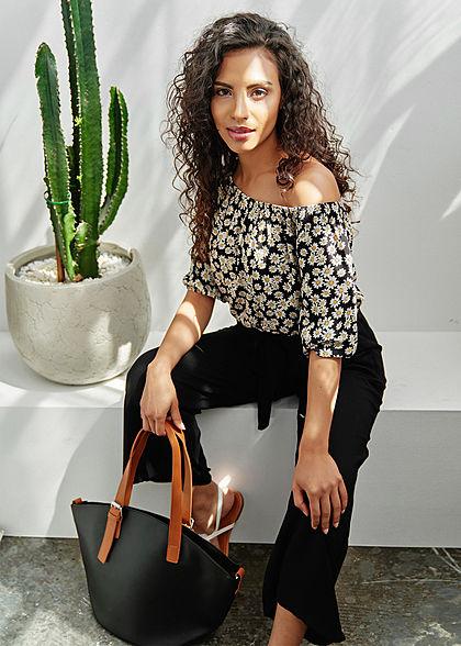 Styleboom Fashion Damen Kunstleder Handtasche 40x28cm leicht gewölbt schwarz