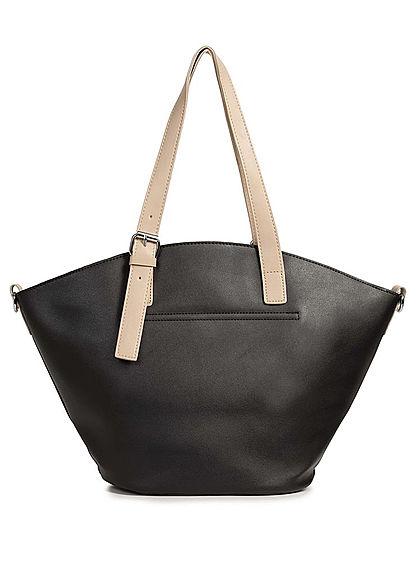 Styleboom Fashion Damen Kunstleder Handtasche 40x28cm leicht gewölbt schwarz beige
