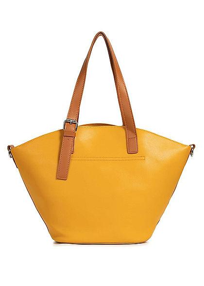 Styleboom Fashion Damen Kunstleder Handtasche 40x28cm leicht gewölbt mango gelb