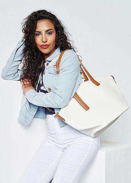 Styleboom Fashion Damen Kunstleder Handtasche 40x28cm leicht gewölbt weiss
