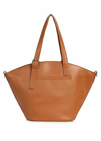 Styleboom Fashion Damen Kunstleder Handtasche 40x28cm leicht gewölbt camel braun