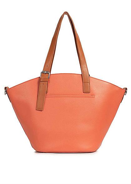 Styleboom Fashion Damen Kunstleder Handtasche 40x28cm leicht gewölbt orange