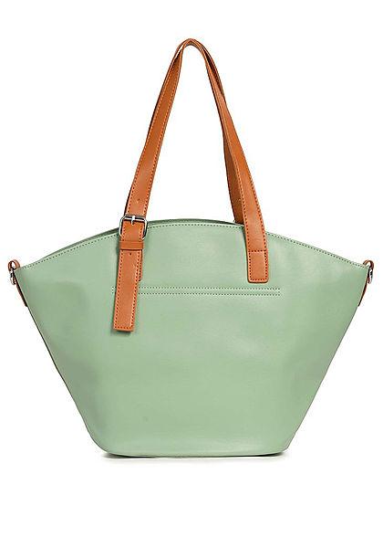 Styleboom Fashion Damen Kunstleder Handtasche 40x28cm leicht gewölbt mint grün