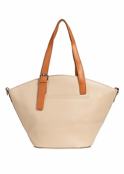 Styleboom Fashion Damen Kunstleder Handtasche 40x28cm leicht gewölbt apricot beige