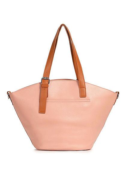 Styleboom Fashion Damen Kunstleder Handtasche 40x28cm leicht gewölbt pink rosa