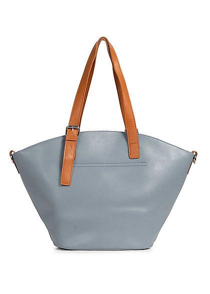 Styleboom Fashion Damen Kunstleder Handtasche 40x28cm leicht gewölbt blau