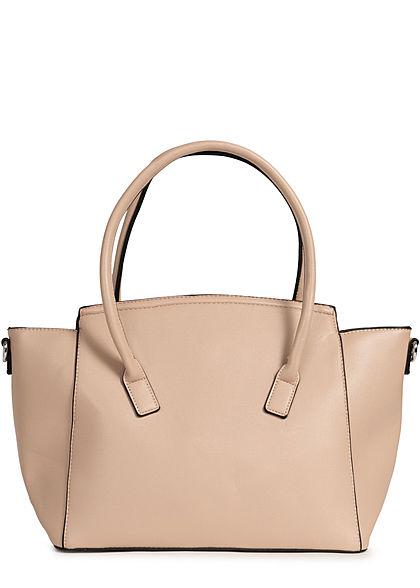 Styleboom Fashion Damen Kunstleder Handtasche 49x29cm sehr stabil apricot beige