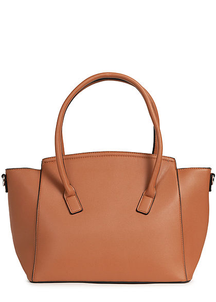 Styleboom Fashion Damen Kunstleder Handtasche 49x29cm sehr stabil camel braun