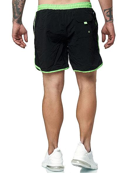 Urban Classics Herren Retro Swim Shorts 3-Pockets schwarz neon grün