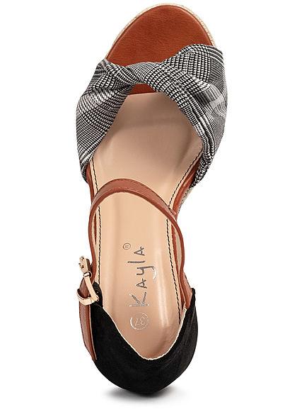 Seventyseven Lifestyle Damen Schuh Sandalette Keilabsatz 10cm Karo Muster schwarz weiss
