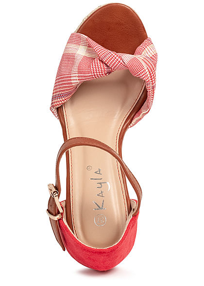 Seventyseven Lifestyle Damen Schuh Sandalette Keilabsatz 10cm Karo Muster rot weiss
