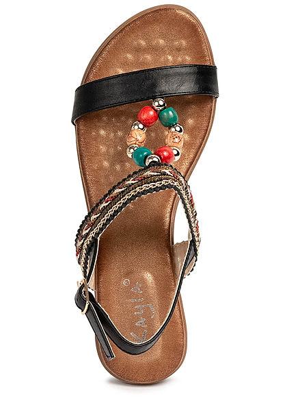 Seventyseven Lifestyle Damen Schuh Sandalette Deko Perlen Absatz 5cm schwarz