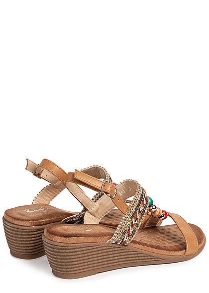 Seventyseven Lifestyle Damen Schuh Sandalette Deko Perlen Absatz 5cm camel braun