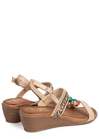 Seventyseven Lifestyle Damen Schuh Sandalette Deko Perlen Absatz 5cm beige