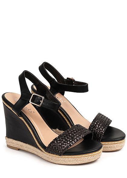 Seventyseven Lifestyle Damen Schuh Sandalette Keilabsatz 11cm Flechtoptik schwarz