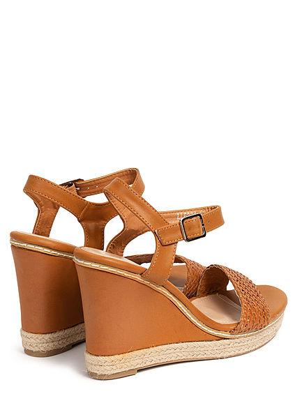 Seventyseven Lifestyle Damen Schuh Sandalette Keilabsatz 11cm Flechtoptik camel braun