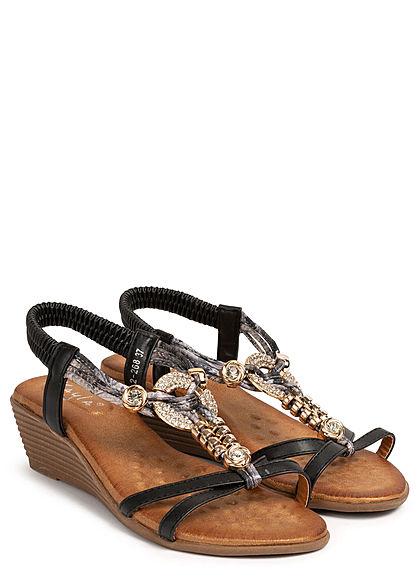 Seventyseven Lifestyle Damen Schuh Sandalette Deko Strass Steine Absatz 5cm schwarz