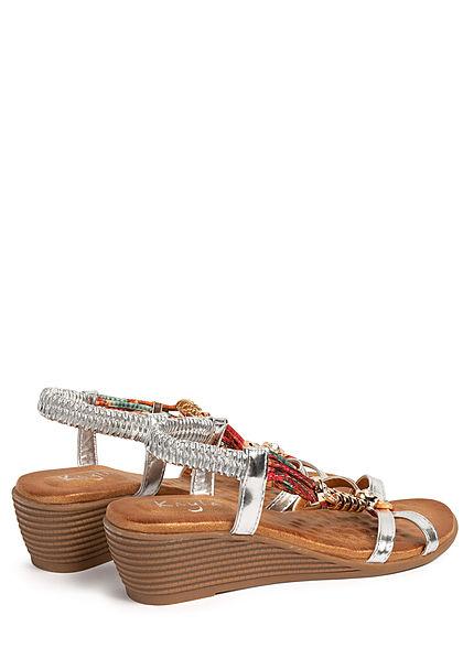 Seventyseven Lifestyle Damen Schuh Sandalette Deko Strass Steine Absatz 5cm silber