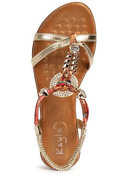 Seventyseven Lifestyle Damen Schuh Sandalette Deko Strass Steine Absatz 5cm gold