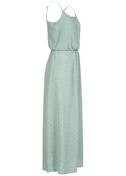 ONLY Damen NOOS Maxi Kleid Taillengummizug Dots Print chinois grün weiss