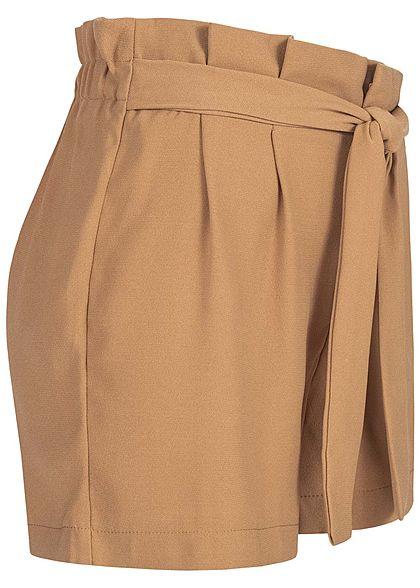 ONLY Damen Paperbag Shorts mit Taillengürtel coffee braun
