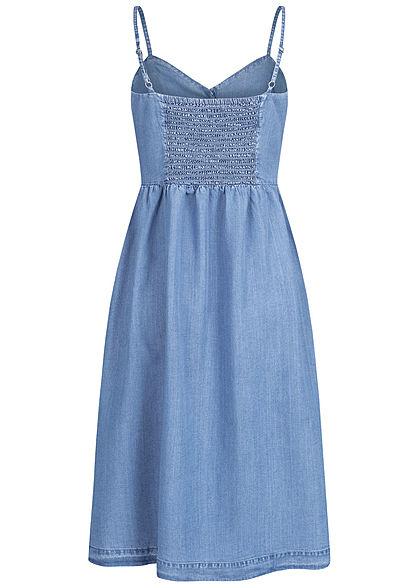 ONLY Damen V-Neck Jeans Kleid Knopfleiste medium blau denim