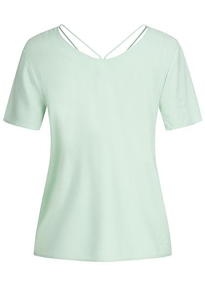 ONLY Damen V-Neck Blusen Shirt mit Strings oben aqua foam grün