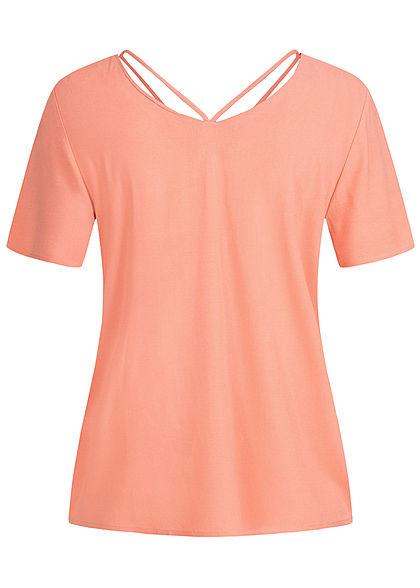 ONLY Damen V-Neck Blusen Shirt mit Strings oben terra cotta rose