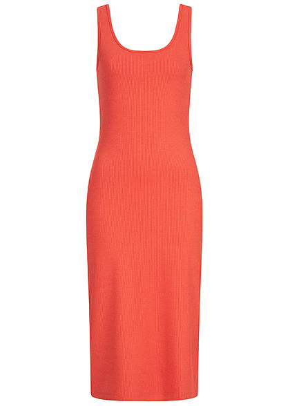 ONLY Damen Ribbed Solid Midi Kleid hot sauce rot