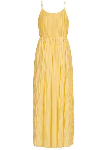 ONLY Damen V-Neck Maxi Kleid Wickeloptik mit Falten 2-lagig dusky citron gelb
