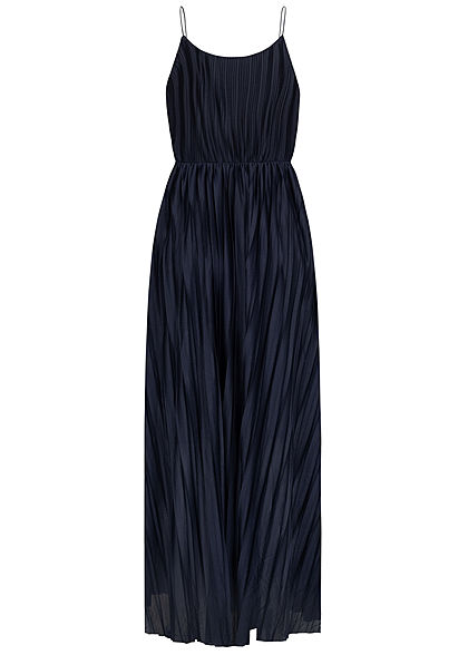 ONLY Damen V-Neck Maxi Kleid Wickeloptik mit Falten 2-lagig night sky navy blau