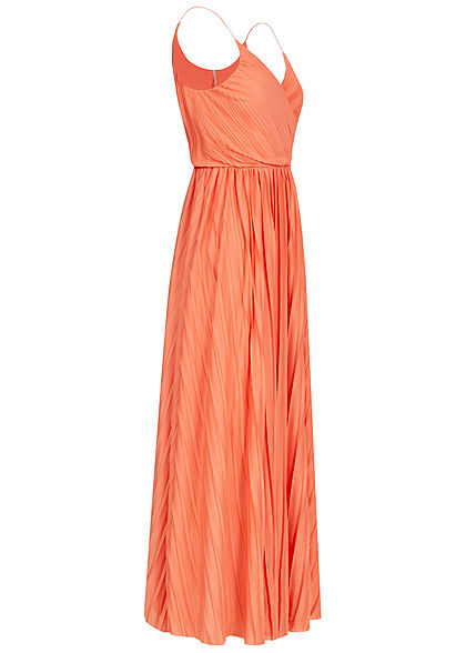 ONLY Damen V-Neck Maxi Kleid Wickeloptik mit Falten 2-lagig terra cotta dunkel rose