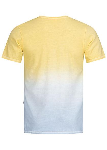 Hailys Herren 2-Tone T-Shirt Palmen Patch Ombre Look gelb blau