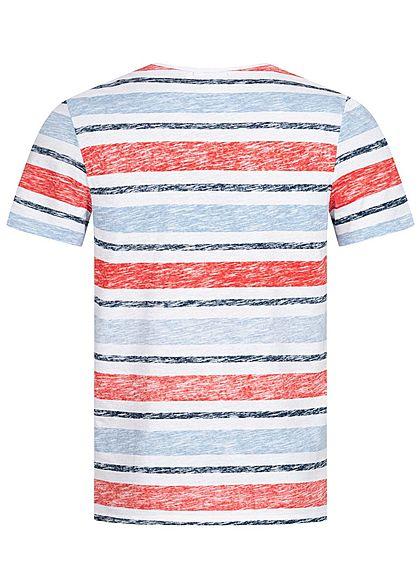 Hailys Herren T-Shirt Streifen Inside Print Brusttasche navy blau rot weiss