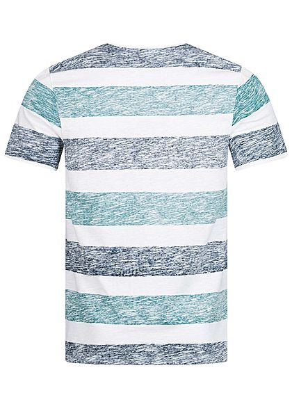 Hailys Herren T-Shirt Streifen Inside Print Brusttasche navy blau aqua