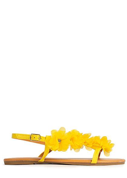 Seventyseven Lifestyle Damen Schuh Sandale Kunstleder Deko Tüll Blumen mit Strass gelb