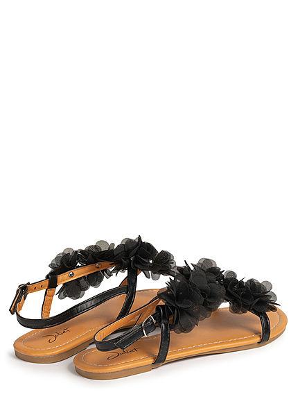 Seventyseven Lifestyle Damen Schuh Sandale Kunstleder Deko Tüll Blumen mit Strass schwarz